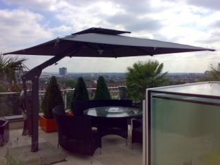 Black Rooftop Garden Parasol