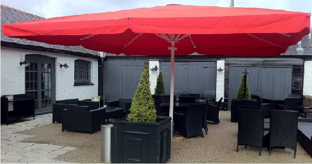 Pub Umbrella with Red Canopy