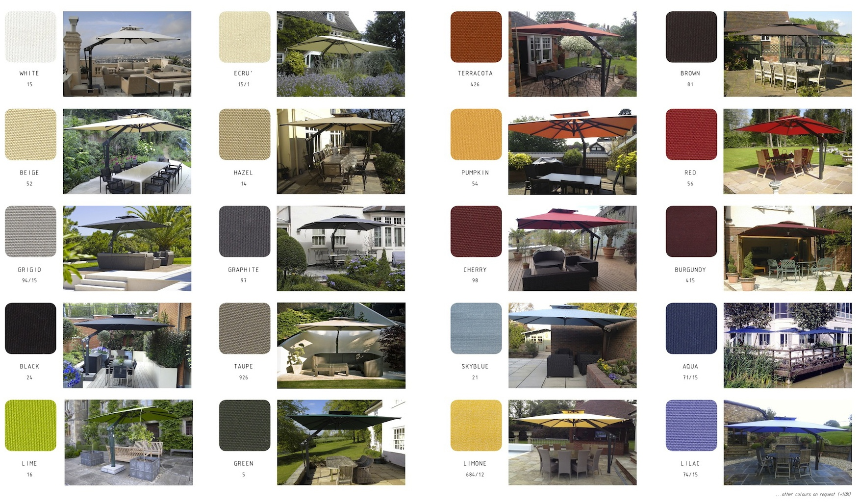 Large Umbrella Canopy Colours