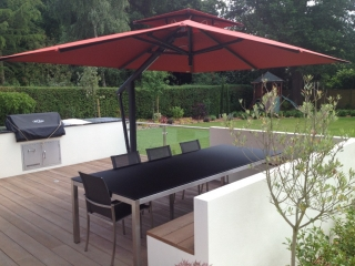 Toscana Garden Parasol with Red Canopy