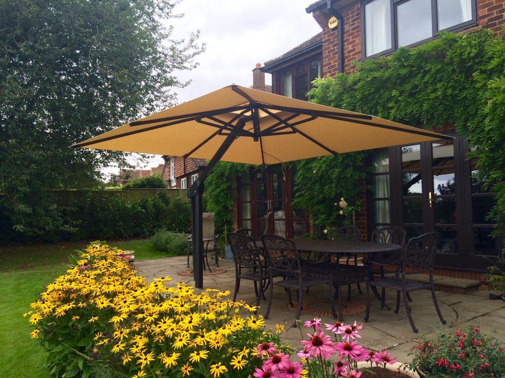 Beige patio umbrella