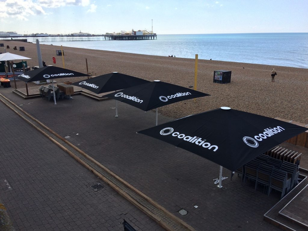 5m x 4m Strong Umbrellas, Brighton Seafront