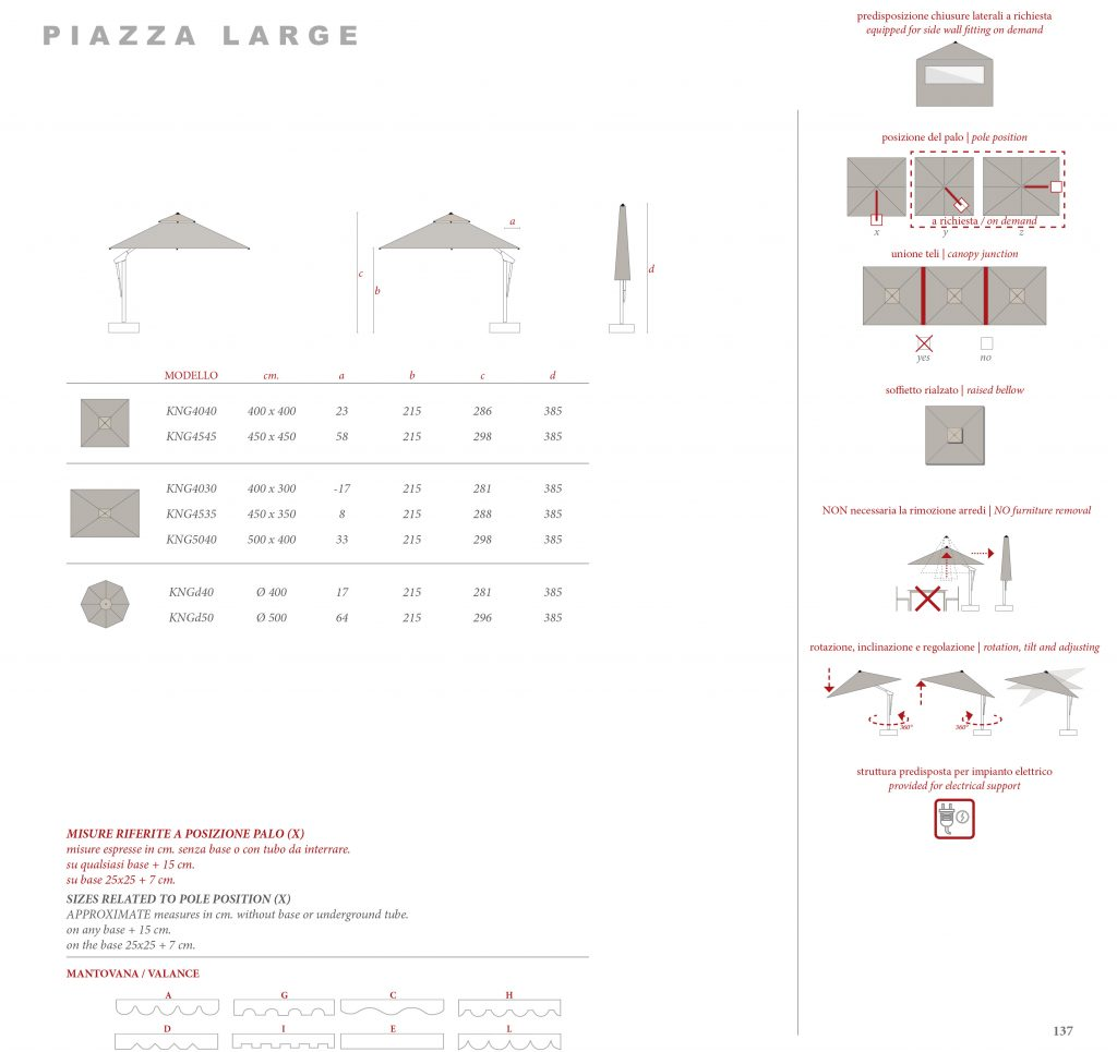 Piazza Large Specifications